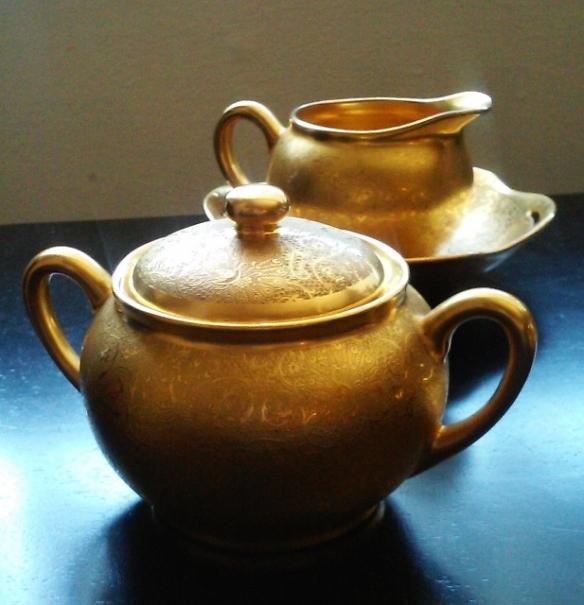 Pickard All-Over Gold Sugar Bowl and Creamer Set